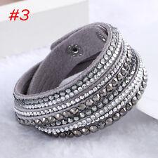 Fashion Leather Wrap Wristband Charm Crystal Rhinestone Cuff Bracelet Bangle2017 #3