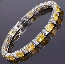 Citrine and White Topaz Tennis Bracelet 14KT White Gold 5X7 MM Gemstones 7 Inch
