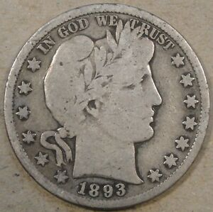 1893-S Barber Half Dollar 50c VG As Pictured