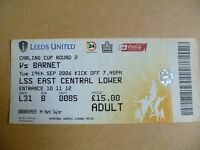 Ticket 2006 LEEDS UNITED v BARNET, 19 Sept (Carling CUP 2nd RD)