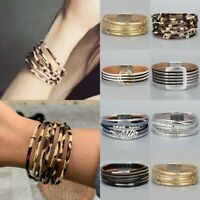 Fashion Multilayer Leather Bracelet Magnetic Clasp Bangle Crystal Wristband Cuff