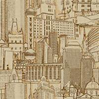 York Wallcoverings Brown / Gold Cityscape on Sure Strip Wallpaper RB4212