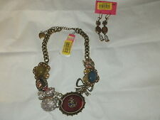 Betsey Johnson Lg. Woodland Critter Necklace w/Match Earrings Fox Mouse Unique
