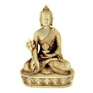 "MEDICINE BUDDHA STATUE 5.25"" White Resin Buddhist Deity NEW Meditation Health"