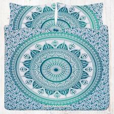 Sea Green Hippie Mandala Bedding Queen Flat Bed Sheet Set With 2 Pillow Cases