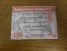 02/12/2000 Ticket: Rotherham United v Millwall [Sponsors Box] . If this item has