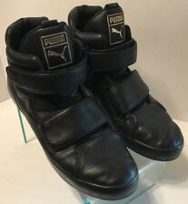 Puma Apex Black Leather High Top Strap Sneakers 361824-01 Men's Size 10