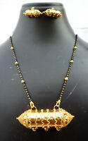Indian 22K Gold Plated 11 Inch Long Fashion Weddings Necklace Pendant Set O