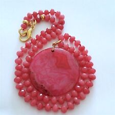 "PINK AGATE/WATERMELON NECKLACE WITH PINK AGATE ROUND PENDANT, 19 1/4""."