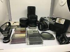 Vtg Canon AE-1 Program 35mm Film Manual Focus Camera w/ 50mm F1.8 Lens & Access.
