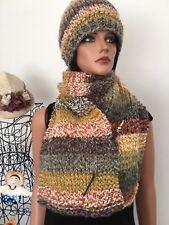 Hand Knits 2 Love Hat Shawl Scarf Set Dedigner Fashion Female Hip Pom Pom Ski