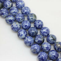 Blue Spots Natural Gemstone Round Loose Spacer Beads Stone Jewelry DIY 4-12mm