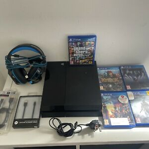 Sony PS4 500GB Console Bundle, 5 Top Games, Headset, Fully Working NO CONTROLLER