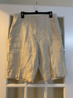 Chicos beige 100% linen bermuda shorts with pockets womens size 3/large