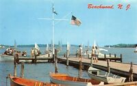 BEACHWOOD NJ CLUBHOUSE DOCK AND BOATS CHROME POSTCARD UNUSED DOWN $1.00