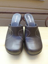 Tommy Girl Brown Leather Mules Shoes w/ 4 inch Heel Women's Size 8.5 M