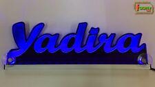 """LED LKW Leuchtschild Truckerschild Namensschild Gravur """"Yadira"""" Name 12 24V blau"""