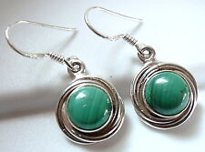 Malachite Cabochon Earrings 925 Sterling Silver with Swirled Border Dangle Drop