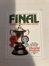 ARSENAL v WEST HAM UNITED   1980  FA CUP FINAL PROGRAMME COVER CARD