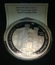 2008 100th Anniversary of the Royal Canadian Mint $50 Silver Coin