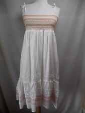 Lilly Pulitzer Sun Dress Sz S White Flared Lace Smocked Pink Green Embroidered
