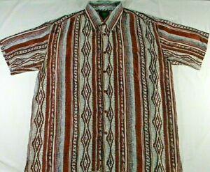 XL Scandia Woods 100% Silk Men's Button Front Shirt Brown White Diamond Stripe
