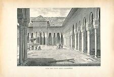 Cour des Lions Palais de Alhambra Grenade Espagne GRAVURE ANTIQUE OLD PRINT 1913