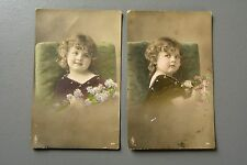 R&L Postcard: Edwardian Girl with Flowers, Coloured Portrait Set