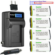 Kastar Battery LCD AC Charger for K8000 Kodak Pocket Video Camera PlaySport ZX1