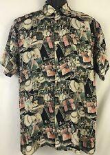 Robert Stock Baseball Print Button Front 100% Silk Shirt Oversized Mens Small