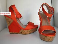 NEW BCBG BCBGeneration High heel Platform Wedge Bright Orange Cork Shoe Sz 7