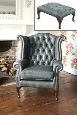 Chesterfield Queen Anne Wingback Chair and Footstool in Vintage Grey Leather