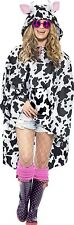 Ladies Animal Poncho Adult Festival Hen Night Fun Fancy Dress Party Costume Cow