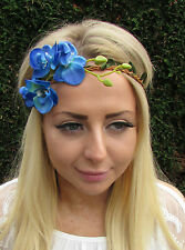 Blue Orchid Stem Flower Garland Headband Hair Crown Festival Boho Headpiece 1653