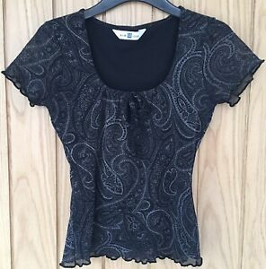 NEW LOOK Black White Paisley Pattern Stretch Fitted Cap Sleeve Blouse Top UK 12