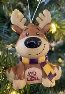 LSU Tigers Reindeer Christmas Holiday Tree Ornament FREE SHIPPING
