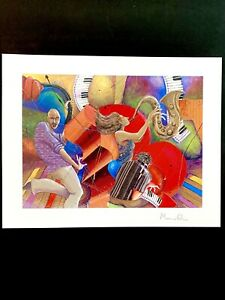 """LOVE THAT JAZZ BY MARCUS GLENN 2005~SERIOLITHOGRAPH W COA~9x11.5""""~NEW UNFRAMED"""