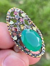 Green Onyx Gemstone 925 Sterling Silver Ring Jewelry Size 8 Peridot Garnet