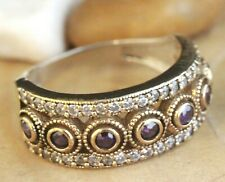 925 Sterling Silver Handmade Antique Turkish Amethyst Ladies Ring Size 6-10