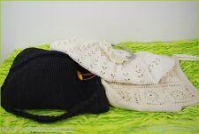 Lot de 3 Sacs en Crochet Ecru, Beige et Noir TBE
