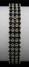 Rhinestone Black Crystal 3 Row Elasticated Bracelet Silver Plated