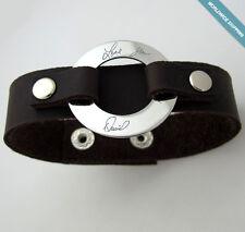 Handwriting Bracelet Mens ID Signature Engraved Cuff for Men. Leather Bracelet