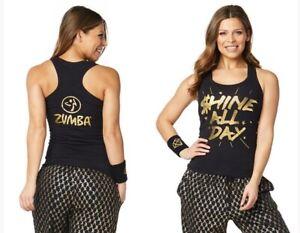 Zumba Shine All Day Racerback Tank Top - Bold Black - XS, Small, Medium, Large