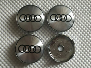4x Audi Alloy Wheel Hub Centre Cap Set Center Caps Silver/Black 60mm