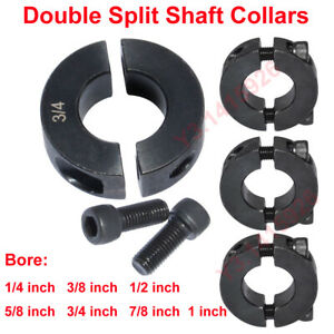 Bore 1/4,3/8,1/2,5/8,3/4,7/8,1 inch Double Split Shaft Collars Oxide Set Screw