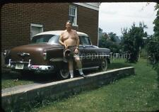 Shirtless Man With Water Can Beside His Chevy Car Vintage 1950s Slide Photo