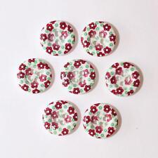Boutons en Bois Motif Fleurs Rouge 15mm avec 4 Trous - Lot de 10 - Mercerie