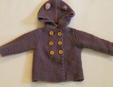 Baby Mini Boden Purple Knit Sweater Bear Ears Jacket Wood Button Peacoat 6 12 mo