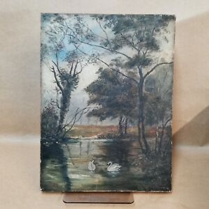 """1914 Oil on canvas swan lake Landscape painting by Sid Horner 9"""" x 12"""". NAIVE"""