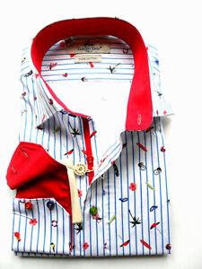 Men's Printed Shirt Slim Long Sleeve Cotton Size: S Claudio Lugli Beach Holiday